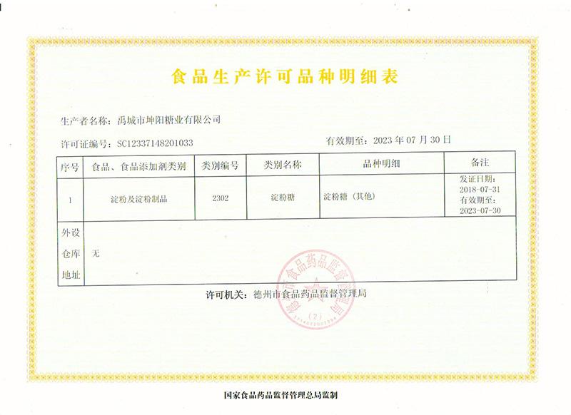 食品生产许可品类明细表